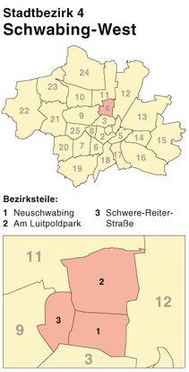 Schlüsseldienst im Stadtbezirk München-Schwabing-West - Türöffnung in den Bezirksteilen Neuschwabing, Am Lutitpoldpark, Schwere-Reiter-Straße - Anfahrt: circa 30 Minuten